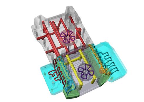 K2黄色后壳生产模具的全新设计,具有随形冷却功能