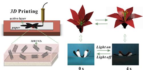 兰州化物所3D打印纸基光热可逆驱动器件研究取得进展