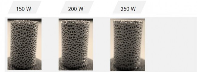 reticulated porous-laser power on strut thickness